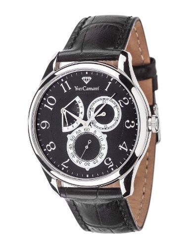 Yves Camani Roubion - Reloj de cuarzo para hombres, con correa de cuero de color negro, esfera negra