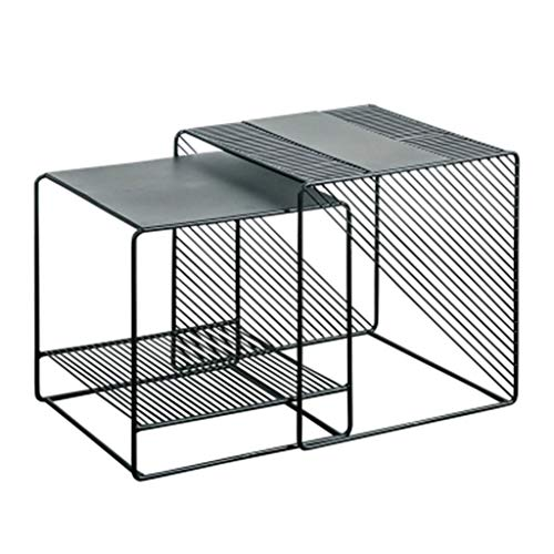Tables basses Table De Chevet Table De Chevet Canapé en Fer Forgé Côté Coin Table Haute Et Basse Pack Petite Table Carrée Cadeau (Color : Black, Size : 50 * 50 * 50cm)