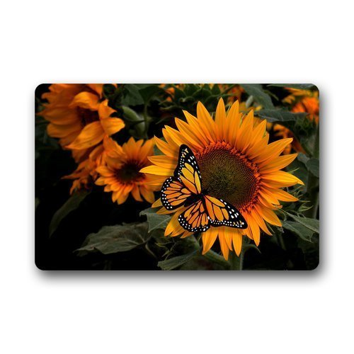 Mr. Sechs Custom Waschmaschine gewaschen Fußmatte SCHÖNE Sonnenblume mit Schmetterling Indoor/Outdoor Decor Teppich Fußmatte 59,9x 39,9cm