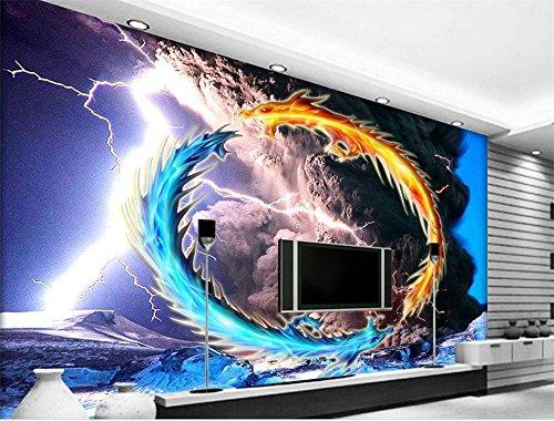 Whian 3D Papel Pintado Mural Decoración Sala De Estar Dormitorio Tornado Rayo Dos Dragones Pintando La Imagen Etiqueta De La Pared 350Cmx250Cm|137.79(In) X98.42(In)