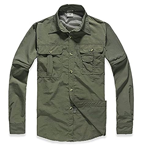 Quick-drying shirt, ADiPROD Men's T-shirt Coat Outdoor Speed Shirts Drying Quick Shirt Removable Sleeves (Army Green, 3X-Large)
