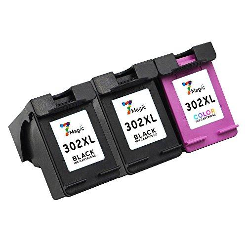 Preisvergleich Produktbild 7Magic Remanufactured Druckerpatronen Ersatz für HP 302 XL Multipack Tintenpatronen Kompatibel mit HP Deskjet 1110 2130 3630 3632 3633 3634 3636 3638, HP Officejet 3830 3831 3832 3834 4650 4654 4655 4658, HP Envy 4520 4522 4524 4525 4527 4528 Drucker (2 Schwarz + 1 Farbe, 3-Pack)