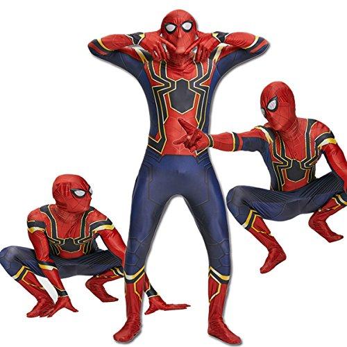 unbrand Schwarz Rot Spiderman Superhero Kinder Herren Jungen Kostüm Cosplay Party (Masquerade Kostüm Für Jungen)