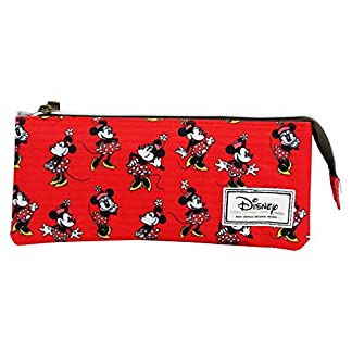 Disney Minnie Cheerful Estuche Portatodo con 3 Cremalleras Escolar Làpices de colores Necesser
