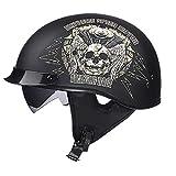 LWAJ Casque Moto Jet · Demi Jet Retro Helmet Chopper Cruiser Scooter · Dot Certifié Style Rétro Casque M(57-58cm),Black-B,M