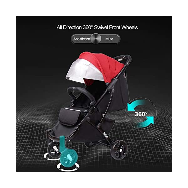 LETTAS Compact Fold Stroller Travel Lightweight Pram Buggy Pushchair Easy for Plane with Five-Point Harness Adjustable Backrest Oversize Hood. LETTAS ★ Fit kids 6 months up to 15kgs. Lightweight aluminum alloy frame design (weighs 5.9kg/13 pounds).Can be fold into a very small size. Easy for traveling and car trips. Convenient one-hand and self-standing fold are smooth when use for pack up and go. Passed the strictest EU safety standards: EN1888:2018 ★ Large extended foldable canopy for maximum sun coverage. A week-a-boo window, you can easily keep a watchful eye on your baby. Stay connected with your baby and no more worry while ensuring ventilation. Enlarge and easy to access storage basket holds all baby's necessities. Detachable cloth covers for easy cleaning. ★ Powder coating crafts. High quality material without pollutant. Handle is made of luxurious PU-leather. Small, light and practical. 5-point safety restraint system protects your child as your child grows. Armrest can be opened quickly in the middle. Detachable armrest offers safety guard and also allows baby easily in and out. 4