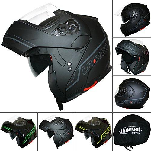 Leopard LEO-838 Flip hasta moto motocicleta accidente casco con DOBLE visera del sol Matt Negro / Plata XS