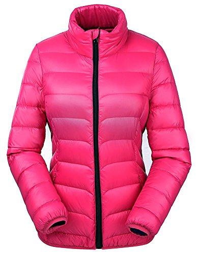 Valuker Damen Daunenjacke 90% Daunen Winter Jacke Stehkragen Winterjacke Ultra leicht NVDLL01(Gr 36 / M Rosa)