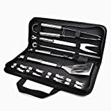 Chenci Outil pour Barbecue 16pcs Ustensiles Barbecue Piquenique Portable Accessoires Barbecue en Inoxydable pour Barbecue Extérieur/Camping /Jardin Professionnel
