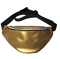 Flada Women Men Dull Polish Shiny Waist Bag Fanny Pack Festival Bumbag Hiking Waist Silver Gold