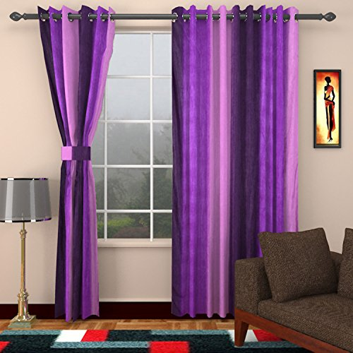 Ajay Furnishings 3 Piece Polyester Modern Window Curtain - 5 ft, Violet