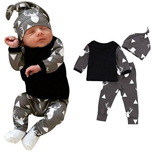 MRURIC Kleinkind Elch Print Langarm T-Shirt-Set Jungen Mädchen Overall Sweatshirt Baby Unisex Neugeborene Winter Warm Halloween Elch Tops T-Shirt + Hosen Leggings 3 stücke Outfits Set (70, Schwarz)