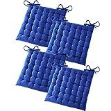 Gräfenstayn Set de 4 Cojines, Cojines para Silla de 40 x 40 x 5 cm para Interior y Exterior de 100% algodón Acolchado Grueso/cojín para el Suelo (Azul)