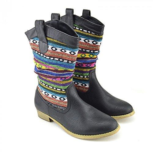 Donna Signore Tacco Piatto Caviglia Slip On Stivali Moda Scarpe Eleganti Multicolore Multicolor