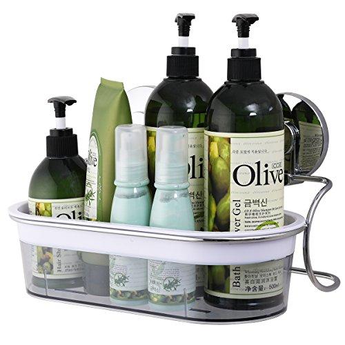 TAILI Duschablage mit Saugnapf, Wand-Aufbewahrungskorb fürs Badezimmer, ideal für Duschgel, für Badezimmerartikel und Küchenutensilien, verchromter Edelstahl