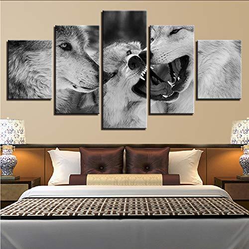Wuwenw Modulare Leinwand Malerei Hd Drucke Dekoration Nacht Hintergrund 5 Stücke Wandkunst Tier Wolf Bilder Kunstwerk Plakatrahmen, 16X24 / 32/40 Zoll, Ohne Rahmen