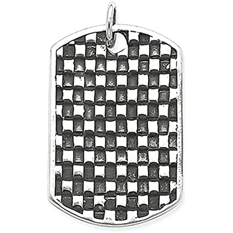 Sterling Silver anticato Dog Tag Pendant