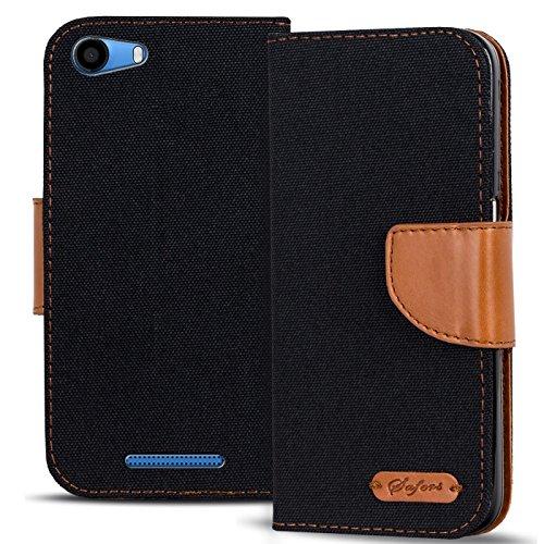 Conie TW43767 Textil Wallet Kompatibel mit Wiko Lenny 2, Textil Hülle Klapptasche mit Kartenfächer Etui Slim Cover für Lenny 2 Handyhülle Jeans Schwarz