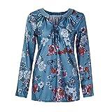 SEWORLD Damen Schal Bluse Stehkragen Casual Mode T-Shirt Pullover Bluse Tops Strick Button Gedruckt Langarm Plus Größe Lose Shirt Bluse(X1-Marine,EU-44/CN-4XL)
