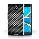 Stuff4® Hülle/Case für BlackBerry Priv/Grau Muster/Kohlenstoff-Faser-Muster Kollektion