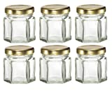#3: Plant Therapy 1.5 oz Mini Hexagon Glass Jars used for Magnetic Spice Rack, Honey, Candles, Jam, Gifts and More! Pack of 6 Jars
