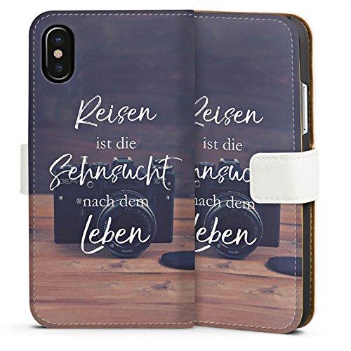 Apple iPhone X Silikon Hülle Case Schutzhülle Reisen Sehnsucht Statement Sideflip Tasche weiß
