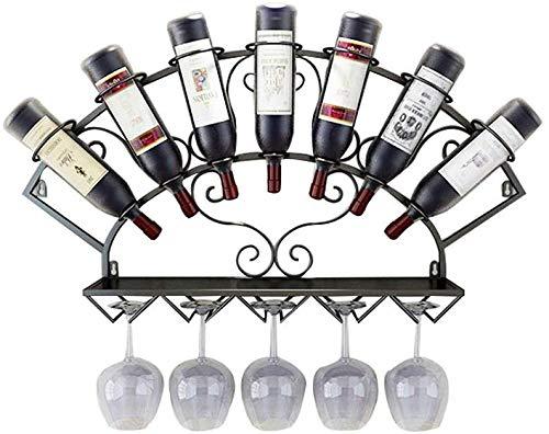 CNDY Weinregal und Glashalter zur Wandmontage, Weinregal und Glashalter zur Wandmontage, Vintage-Nostalgie-Schmiedeeisen, Haushalts- und Küchenzubehör (Farbe: Schwarz)