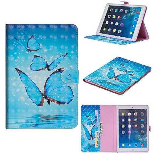 WIWJ Hülle Case für iPad 9.7 Zoll 2018/2017,Ultra Slim Gemalt Schutzhülle Lederhülle Schale Für iPad 9.7 Zoll 2018/2017-Drei Schmetterlinge