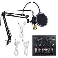 Lixada Live Sound Card & BM800 Suspension Microphone Kit Broadcasting Recording Condenser Microphone Set Intelligent Volume Adjustable Audio Mixer Sound Card