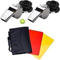 Giveet Sport-Schiedsrichter-Karten-Set, rote gelbe Karte und Edelstahl-Metall-Trainer-Pfeife für Fußball