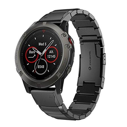 squarex Echt Edelstahl Armband Quick Ersatz Passform Band Strap Armband für Garmin Fenix 5S GPS-Uhr, damen, schwarz