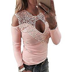 YOINS Femmes Tee-Shirt Sexy Haut Épaules Dénudées Tops Moulante Dentelle Manches Longues Mode Shirt, Sexy-rose, S