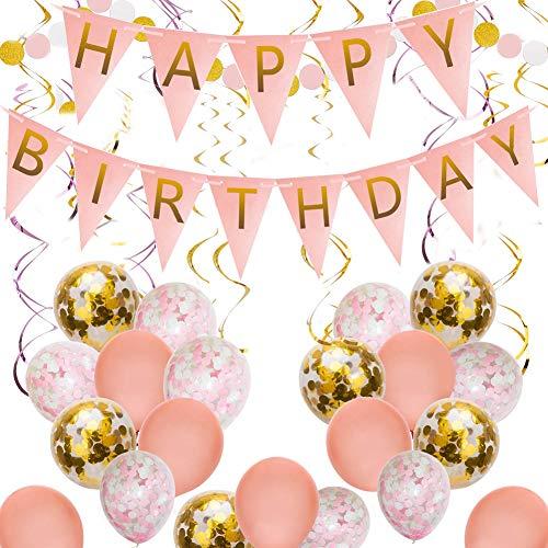 SDGDFXCHN Pink und Gold Happy Birthday Party Dekoration Lieferungen Happy Birthday Banner, hängende Strudel, Konfetti-Ballons, Latex-Ballons (Pink Und Gold Dekoration)