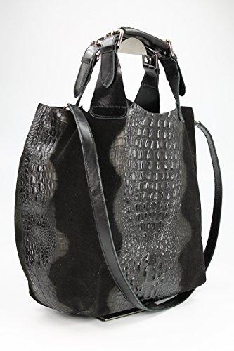Belli sac à main en cuir ® étui de protection exclusive en cuir croco mix couleur au choix :  41 x 32 x 15 cm (l x h x p) Noir - Noir