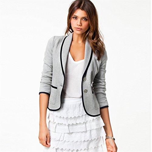 erbst Slim Dünn Revers Anzug Damen Jacke Grau L (Grau-haut-anzug)