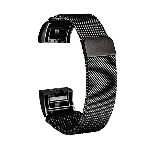 Cossll498 Magnetic Buckle Mesh Metal Watch Strap Replacement Wrist Band for Fitbit Change2 Black (22mm Black Watch Band Metal Mesh)