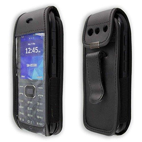 caseroxx Handy-Tasche Ledertasche mit Gürtelclip für Samsung Xcover 550 / B550 aus Echtleder, Handyhülle für Gürtel (mit Sichtfenster aus schmutzabweisender Klarsichtfolie in schwarz)