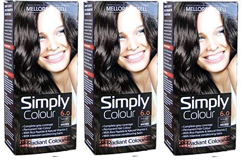 3 X Mellor & Russell simplement Couleur Coloration permanente 6.0 Naturel Marron clair