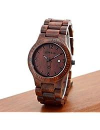 reloj de madera hombre - Sannysis Reloj del negocio de pulsera de madera con caja Marrón