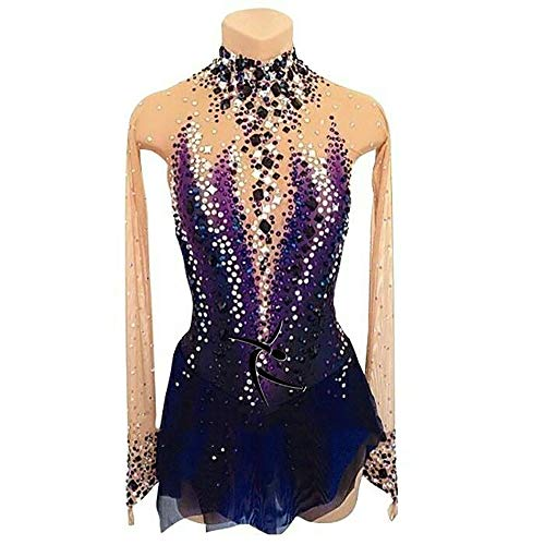 Rmckj-M Eiskunstlauf-Kleid-Frauen-Mädchen Eislauf-Performance-Wettbewerb Kostüm Kristalle Elastisches Gewebe Handgemachte Lange Ärmel Skating Trägt,Purple-M