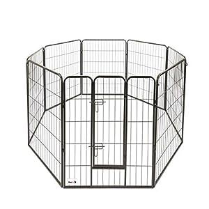 MAXX - Parc Enclos pour Chiens - Porte et 8 Panneaux - grillage en fer - 80x100cm - Ø 210 cm - cage pour Chiens Chiots Animaux de compagnie