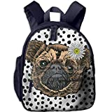 Lovely Schoolbag Cute Pug Dog Double Zipper Closure Waterproof Children Schoolbag Backpacks with Front Pockets for Kids Boys Girls