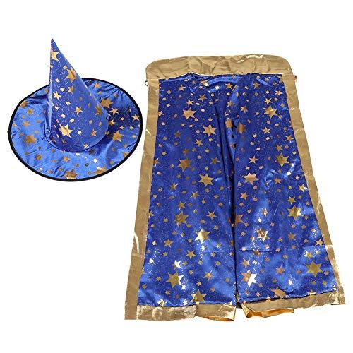 (OKBY Umhang für Kinder - Kids Witch Wizard Umhang Hut Set Shinng Sterne Muster für Halloween Cosplay (Farbe : Blau))