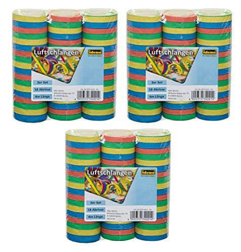 Idena 8274021 - Luftschlangen, Mehrfarbig (3X 3er Pack)