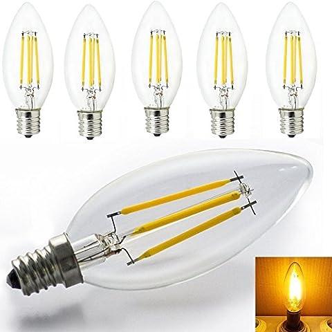 GLW Candelabro base lampadina LED a candela con filamento, 4W, E14, Torpedo forma, Copertura in (Candele Sconce)