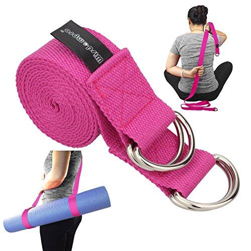 Wisdompro® Yoga Gurt für Dehnung und Posieren, kann auch als Yoga Matte verwendet werden, Tragetuch mit 4D-Ringen-Eine 2-in-1Extra Wertvolle Kombination, hot pink Hot Pink Matte