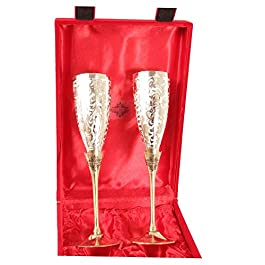 Indian Art Villa Siver Plated Goblet Flute Wine Glass Best for Parties, Set of 2