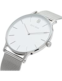 41mm Men's Watch - Ultra Thin Case Minimalist Waterproof Stainless Steel Dress Watch - Classic Fashion & Business Wristwatch by Byron Bond (Harley - Silver Case with White Dial and Silver Mesh Strap)