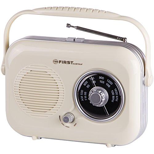 Radio portátil retro color beige con auriculares y conexión para el móvil | Funciona con pilas o electricidad | Radio Retro | Retroradio | FM/AM | Mini radio de cocina