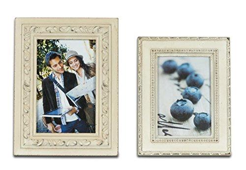 Juego de 2 marcos de fotografías, color crema, estilo barroco vintage y retro